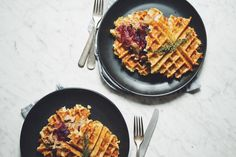 vegan thanksgiving waffles | RECIPE on hotforfoodblog.com