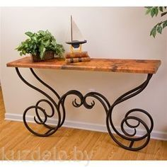 This Milan Console Table features a traditional wrought iron table base available in 4 finishes and your choice of x copper, red marble or white marble top. Iron Furniture, Rustic Furniture, Furniture Design, Wrought Iron Decor, Entrance Table, Iron Table, Metal Crafts, Console Table, Sofa Tables
