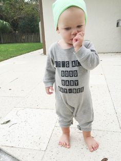 It's All Good Baby Bay-bee romper - Little Beans Clothing. Graphic romper, hipster baby, baby boy clothing, unisex clothes.