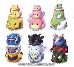 Pokémon, cute, chibi, piles, balls, evolutions; Pokémon