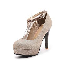 Zapatos de mujer cuero sintético primavera   otoño tacones cómodos tacón de  aguja punta redonda hebilla negro   plata   rojo   boda   vestido b17dce425ebb
