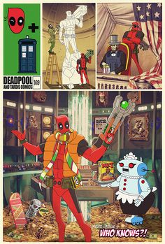 Deadpool gets ahold of the TARDIS. He has Jar Jar Binks' head mounted on the wall off the TARDIS :D