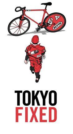 Tokyo fixed gear - Akira style Fixed Gear Bicycle, Bicycle Art, Cycling Art, Cycling Bikes, Track Cycling, Bici Fixed, Katsuhiro Otomo, Bike Messenger, Bike Illustration