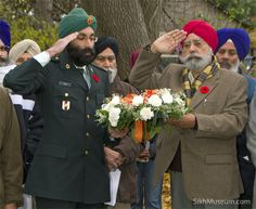 Sergeant Gurpreet Singh Dipak, 23rd Field Ambulance and Rtd Capt. Harjit Singh Bains, Corp. of Signal Indian Army at the 2008 Sikh Remembrance Day Ceremony sponsored by SikhMuseum.com