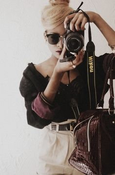 Ponytail, comfy clothes and camera strap. ♡