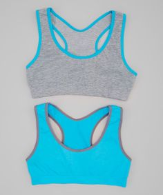 Light Heather Gray & Cabana Blue Selena Sports Bra Set - Girls