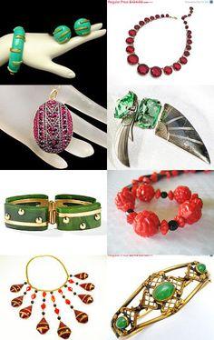 Art Deco Red Green Classic