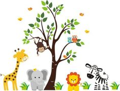 "Baby Nursery Wall Decals Safari Jungle Childrens Themed 83"" X 97"" (Inches) Animals Trees Monkey Zebra Giraffe Elephant Lion Owls Wildlife Made of Seramark Material Repositional Removable Reusable by StickEmUpWallArt, http://www.amazon.com/dp/B00921AKRQ/ref=cm_sw_r_pi_dp_FBgPqb1CJ7NBS"