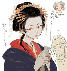 Kashuu got kidnapped by geishas because he was too pretty and they originally thought he was a girl. They weren't too disappointed when they found out that he was male after all because he's still so pretty. Manga Boy, Anime Manga, Anime Art, South Park, Touken Ranbu Characters, Manga Comics, Fire Emblem, Hetalia, Japanese Art