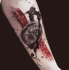 Compass tattoo trash polka