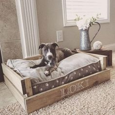 farmhouse style dog bed - Tap the pin for the most adorable pawtastic fur baby apparel! You'll love the dog clothes and cat clothes! - Tap The Link Now Find that Perfect Gift Pallet Dog Beds, Diy Dog Bed, Wood Dog Bed, Homemade Dog Bed, Dog Bed Frame, Dog Rooms, Pet Beds, Doggie Beds, Bed For Dogs