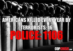 Terrorists kill 16 Americans every year, meanwhile Cops kill 1,100+