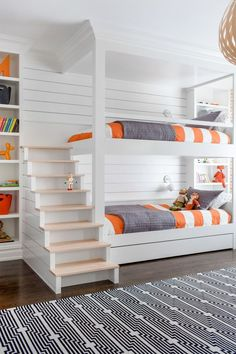 Modern Kids Room - Chango & Co. - Rumson New Modern - Bunk Room Stairs - Shiplap - Pop of Color - Woven Pendant Bunk Bed Rooms, Bunk Beds Built In, Bunk Beds With Stairs, Kids Bunk Beds, Boys Bedroom Ideas With Bunk Beds, Built In Beds For Kids, Bunk Bed Playhouse, Kids Bedroom Ideas, Room For Two Kids