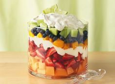 Layered Summer Fruits with Creamy Lime Dressing Recipe.