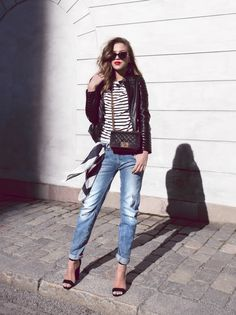 stripes, red lips & leather jacket