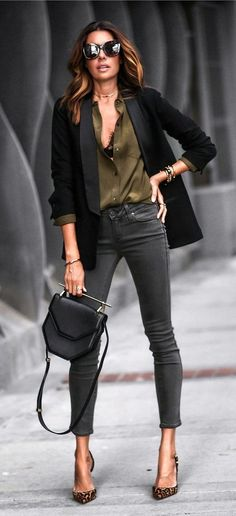 #fall #outfits women's black blazer, green top, black jeans, and brown heels #Blazers