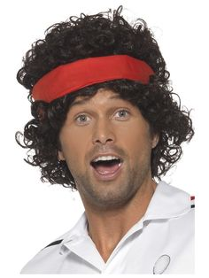 Men Fancy Party Costume Headwear Sportsman False Hair Eighties Tennis Player Wig - deal illustration Irish Fancy Dress, Fancy Dress Wigs, Adult Fancy Dress, Fancy Dress Outfits, Halloween Fancy Dress, Halloween Outfits, Bride Costume, Costume Wigs, Celebrity Fancy Dress