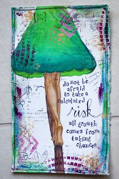 The full text reads: do not be afraid to take a calculated risk. all growth comes from taking chances Art Journal Prompts, Art Journal Pages, Art Journals, Mixed Media Journal, Mixed Media Collage, Creative Journal, Creative Art, Altered Books, Altered Art