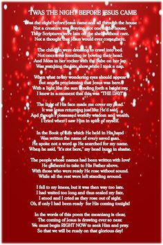 """Twas the Night Before Jesus Came"""" - This poem is not entirely ..."""