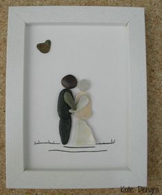 MTO WEDDING COUPLE Rock Pebble Stone Sea Glass Driftwood Pottery Brick Painting Made with Beach Finds Painted Canvas