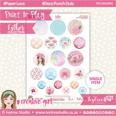 - Print&Play - Deco Punch Outs - Esther Collection Punch Out, Cute Cuts, Printable Paper, Order Prints, Card Stock, Paper Crafts, Printables, Play, Deco