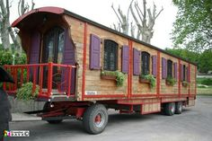 Roulotte gypsey wagon with shutters and flower boxes!!