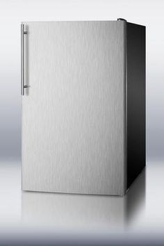 """Summit CM421BLXBISSHVADA 4.1 cu. ft. Capacity 19.88"""" Wide Compact Refrigerator Vertical Thin Handle ADA Compliant Manual Defrost Adjustable Thermostat: Stainless Steel Right Hinge >>> You can find more details by visiting the image link. #CompactRefrigerators"""