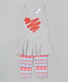 This Gray Bow-Accent Heart Tunic & Leggings - Toddler & Girls is perfect! #zulilyfinds