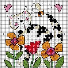 cross stitch cat and flowers Free Cross Stitch Charts, Cross Stitch Freebies, Mini Cross Stitch, Cross Stitch Cards, Cross Stitch Animals, Modern Cross Stitch, Cross Stitch Designs, Cross Stitching, Cross Stitch Embroidery