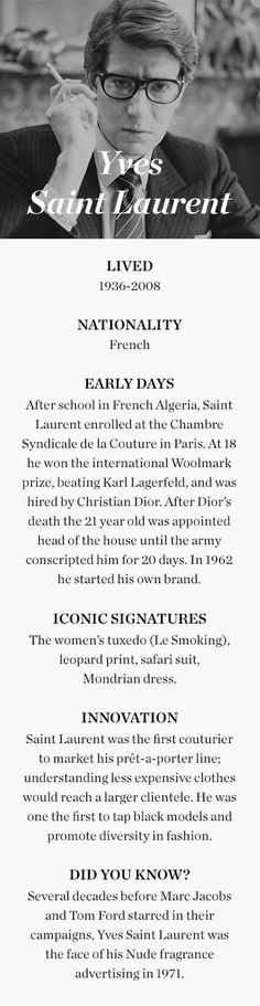 6315e323 Spotlight piece on the life and history of Yves Saint Laurent and the  impact that he has had within the fashion realm. Focuses on his re-entrance  into the ...