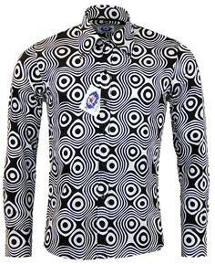 MACAP ENGLAND Trip Op Art Retro 60s Mod Big Collar Shirt