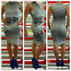 """🆕 Sassy pinstriped dress NWOT Brand new without tags  Show off your curves in this sassy pinstriped dress! Body hugging and sexy this dress is hot for spring/summer 2016! Material bunches at waist as seen in pics for added details. I am loving this dress!! Striped.  Material  54%cotton,40%polyester 6%spandex Lining 95%rayon 5%spandex Size small Length approx 38.5""""  🎉🎊Accessories are also available in my closet, bundle and save🎉🎊  ❤Price is firm ❤No trades Dresses Midi"""