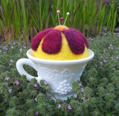 Needle Felted Flower Pin Cushion in Milk Glass Tea Cup by Tami Medwid