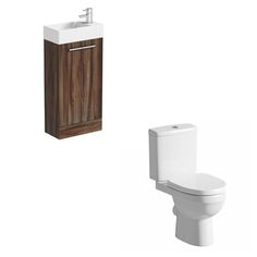 Compact walnut floor standing unit with Energy close coupled toilet £134
