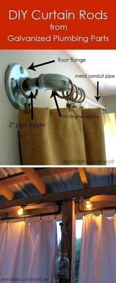 A tutorial on how to make #DIY curtain rods from galvanized plumbing parts/ can Skye make these for around the water heater , closet and across the window nook ?