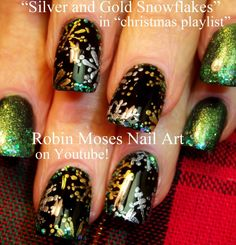 Silver and Gold Snowflake Nail Art by Robin Moses