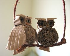 cute owls made from cardboard