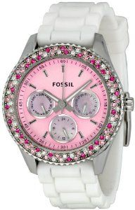 Amazon.com: Fossil Women\'s ES2895 Stella Pink Dial Watch: Fossil: Watches
