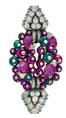 Cartier London - Tutti Frutti No. 3437 brooch, platinum 950, gold 750 and 585, some enamelling, set with brilliants and octagonal diamonds, some of old-cut, total weight ca. 1 ct, some floral cut rubies and emeralds workmanship ca. 1934, Swiss duty hallmark, 18,7 g, repairs and open solders, surface marks