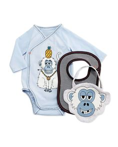 Long-Sleeve Monkey-Print Playsuit & Bibs, Pastel Blue, Size 1-6 Months