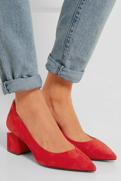 Heel measures approximately 60mm/ 2.5 inches Tomato-red suede Slip on Designer color: Brick