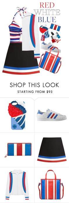 """Starlet In Stripes Forever"" by rachael-aislynn ❤ liked on Polyvore featuring Tory Burch, adidas Originals, Balenciaga, J.W. Anderson, Circus Hotel, Summer, stripes, swimwear and forthofjuly"
