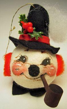 Vintage Annalee Christmas Ornament 1983 Miniature Little Snowman Head