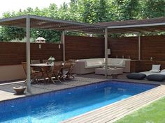 Modern pergola over hot tub patio
