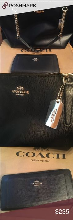 Coach Ava Crossgrain+Zip Around Wallet Signature Please share follow me and check out my coach closet. Beautiful SET!  Coach Ava Crossgrain Leather Large Tote  14' x10'  . Made of signature high quality structured Crossgrain leather in black with gold toned hardware, zip top closure, double leather shoulder straps with high end chain accents,  Coach hangtag,  Coach emblem on the front.  The interior features black fabric lining with one zip pocket and two slip pockets  Comes with matching…