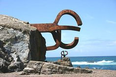 "Eduardo Chillida / Peine del Viento (Comb of the wind) / 1976 / Iron on natural rock / Sculptures found in ""Ondarreta"" beach, San Sebastian, Spain."