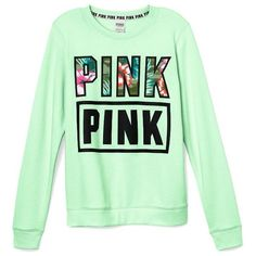 Victoria's Secret PINK Perfect Crew Pullover Small Mint ($18) ❤ liked on Polyvore featuring tops, sweater pullover, mint top, green top, victoria secret tops and victoria's secret