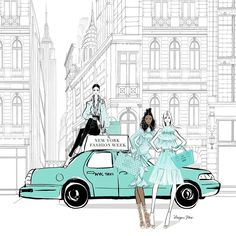 NEW YORK FASHION WEEK! Where NYC becomes a perfect mix of everything fashion and everything crazy (in the most wonderful way! Azul Tiffany, Tiffany And Co, Tiffany Blue, Fashion Artwork, Fashion Wall Art, Fashion Drawings, Fashion Illustrations, Megan Hess Illustration, Kerrie Hess