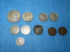 US SILVER COIN LOT of 10 - 1873 DIME, 1901 / 1907 NICKEL, 1954 HALF DOLLAR, 1961