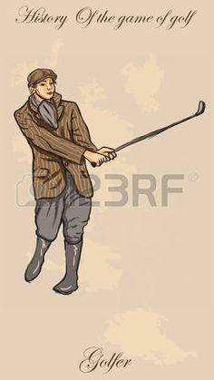 Golfista del vintage, un hombre. Dibujo a mano alzada, vector. Vector es f�cil editable por capas. Color de fondo es aislado. photo